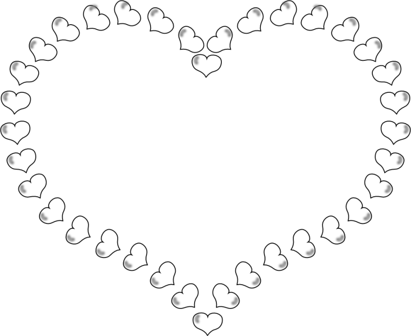 830x680 Black And White Heart Clipart