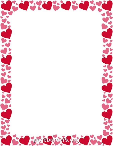 470x608 Hearts Border Clipart