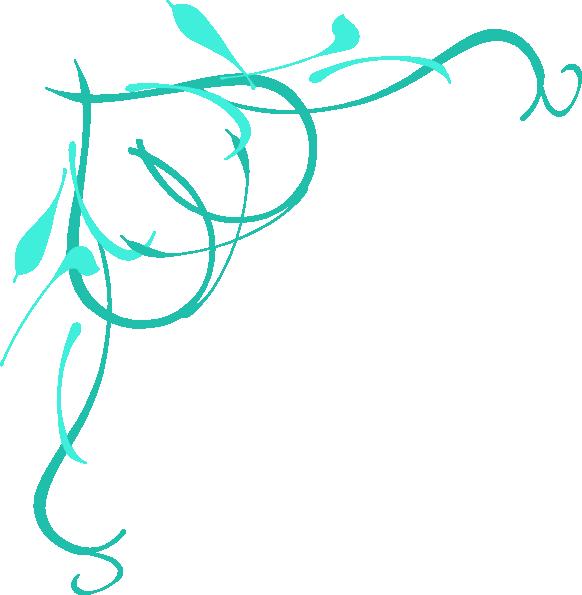 582x595 Teal Heart On Vine Clip Art