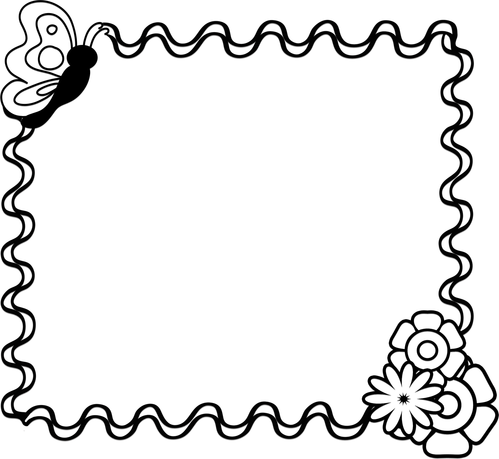 1600x1472 Black And White Clipart Borders