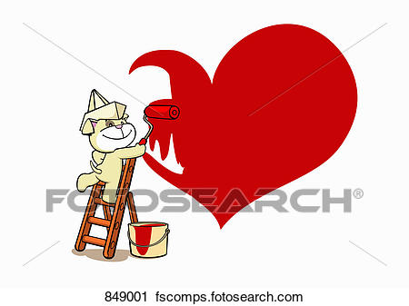 450x337 Clipart Of A Cartoon Dog Painting A Red Heart On A Wall 849001