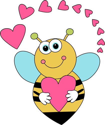 420x500 Cartoon Valentine's Day Bee And Hearts Clip Art
