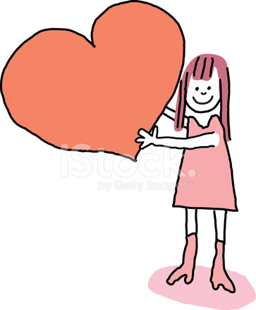 363x439 Lover Girl With Heart Cartoon At Valentine's Day Stock Vector
