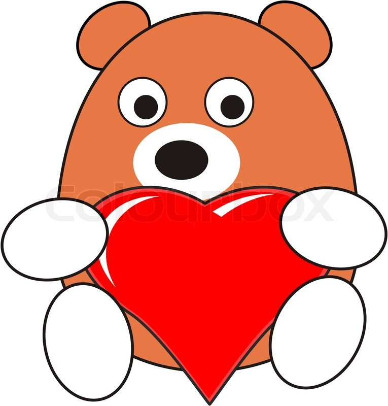 765x800 Cartoon Enamored Baby Bear Toy With Red Heart In Love Vector