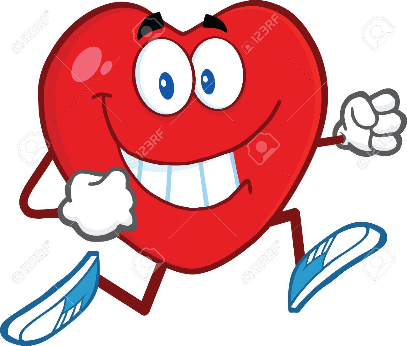 1300x1103 Smiling Heart Cartoon Mascot Character Running Illustration