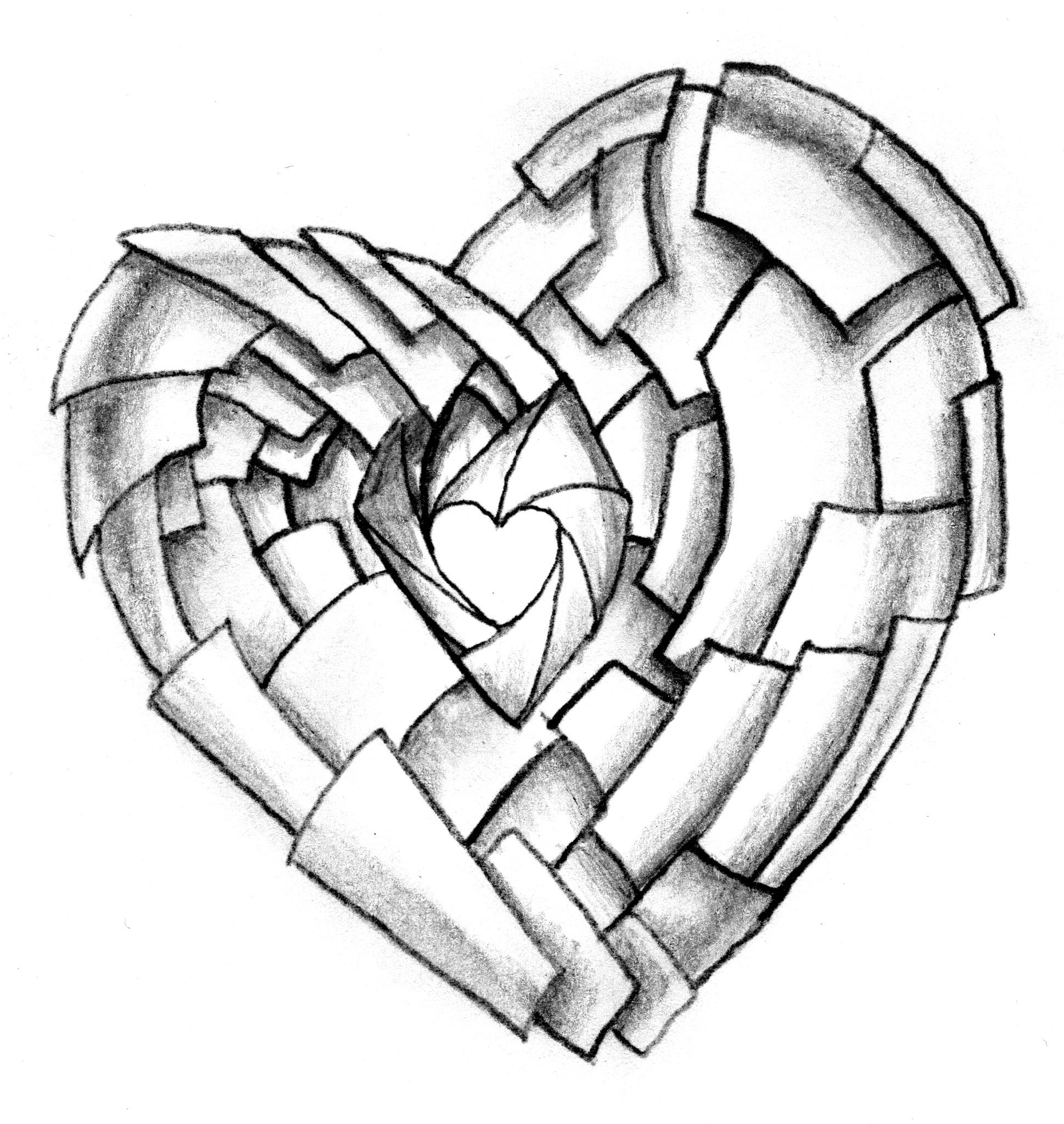 1938x2048 3d Broken Heart Drawing How To Draw Broken Heart
