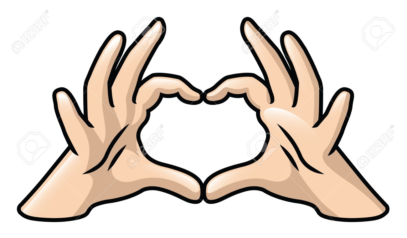 1300x761 Illustration Of A Pair Of Cartoon Hands Forming A Heart Royalty