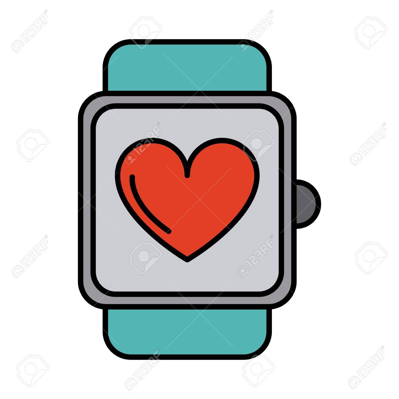 1300x1300 Heart Rate Wrist Monitor Icon Image Vector Illustration Design