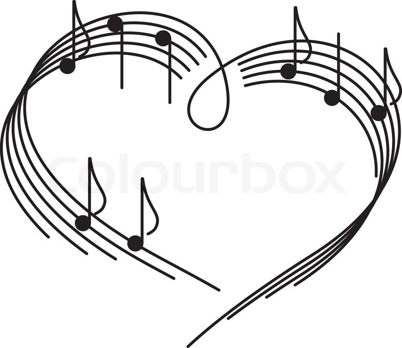 800x692 Music Of Love. The Heart Of The Music Camp With Notes. Stock