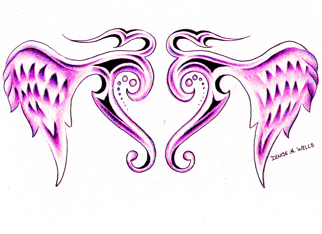 1024x745 Tribal Winged Heart Tattoo By Denise A. Wells Tribal