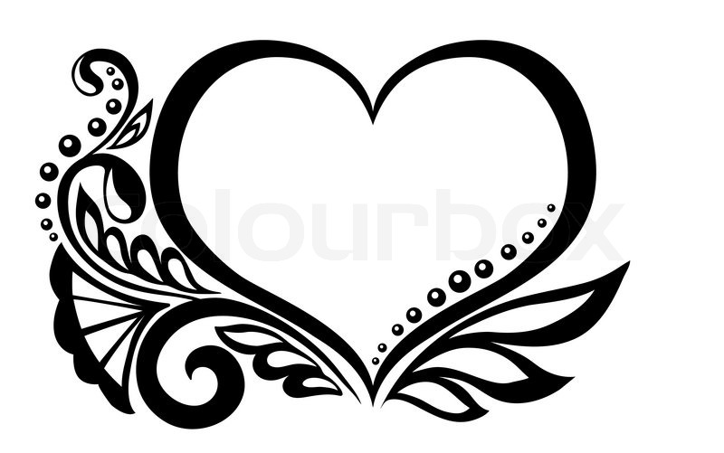 800x501 Black And White Symbol Of A Heart With Floral Design And Butterfly