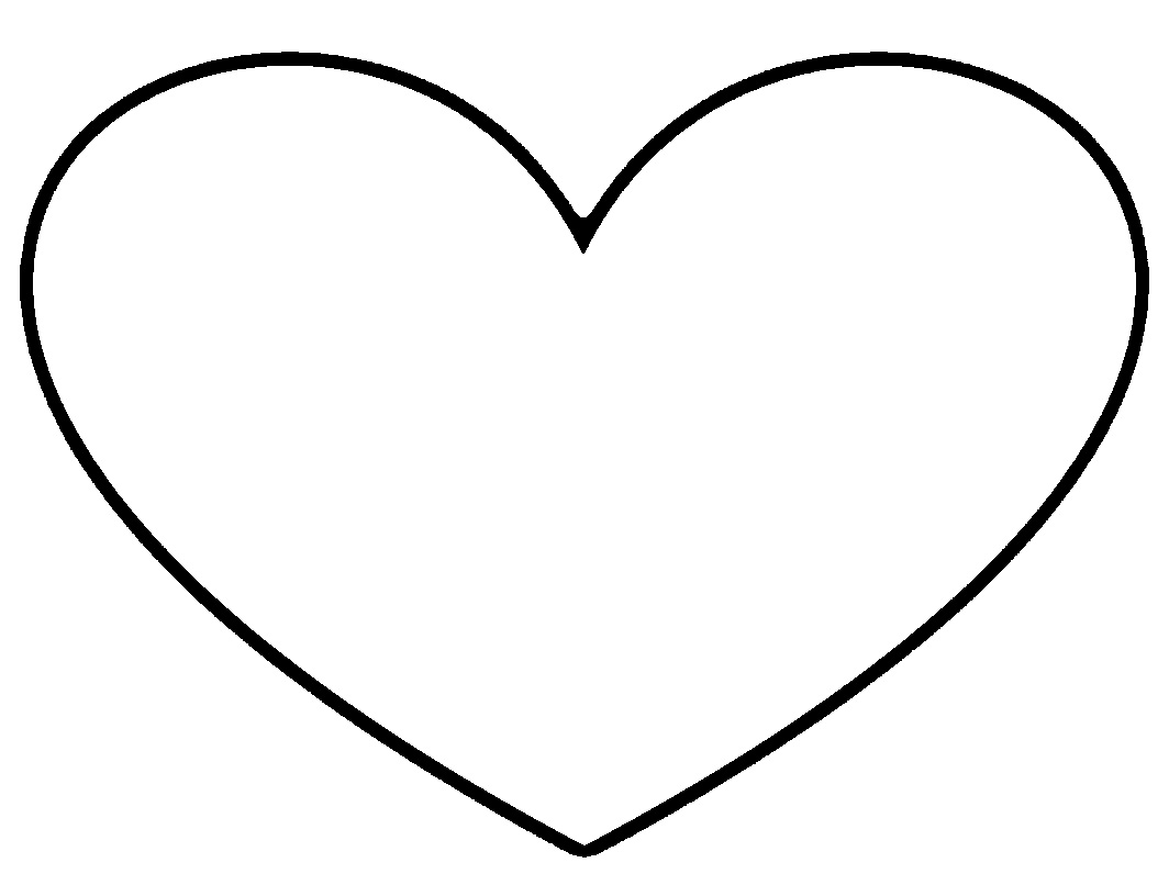 1064x796 Heart Outline Clipart Black And White Image