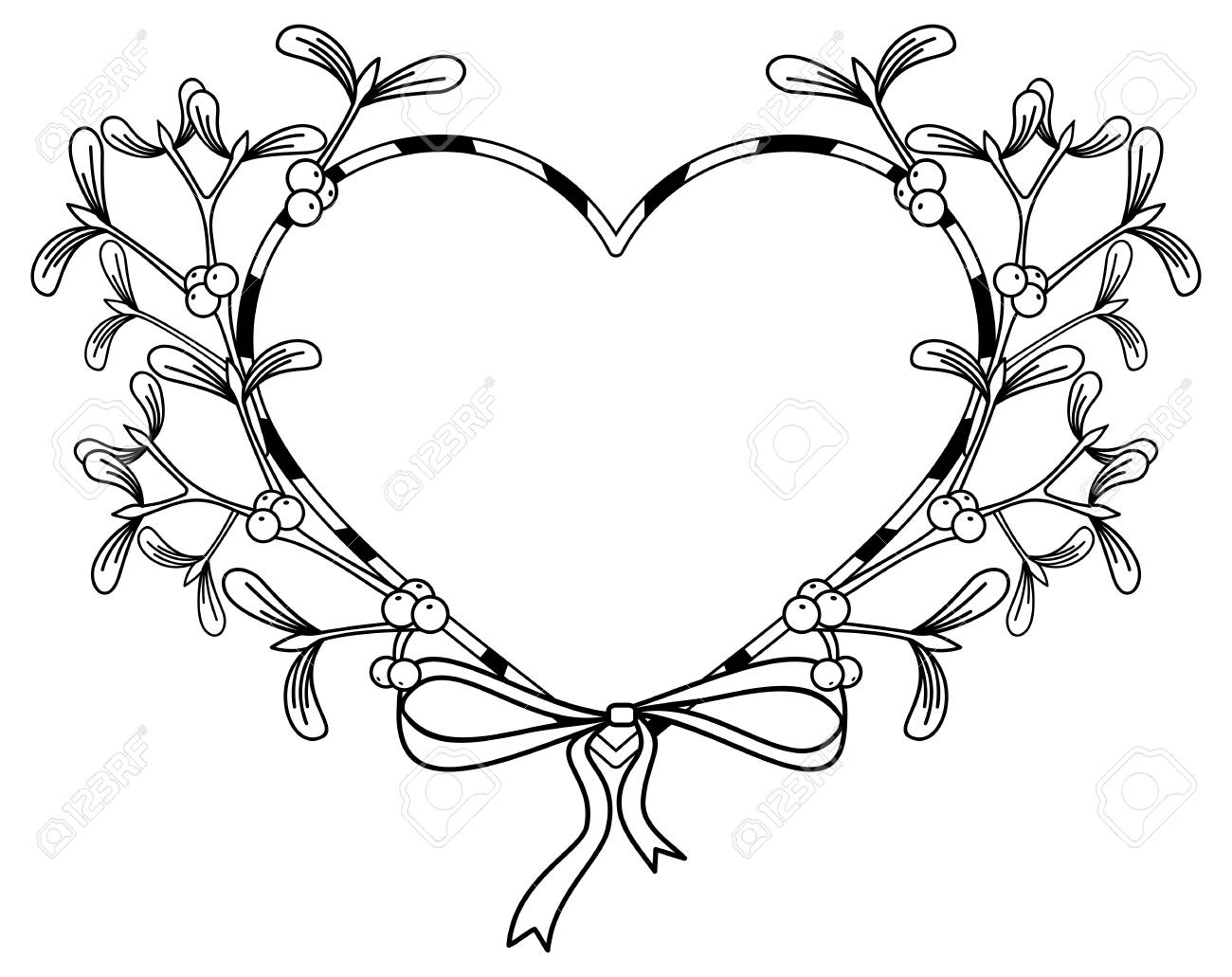1300x1031 Heart Shaped Frame And Mistletoe. Copy Space. Outline Vector