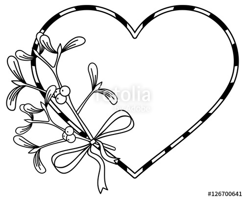 500x407 Heart Shaped Frame And Mistletoe. Copy Space. Outline Vector Image