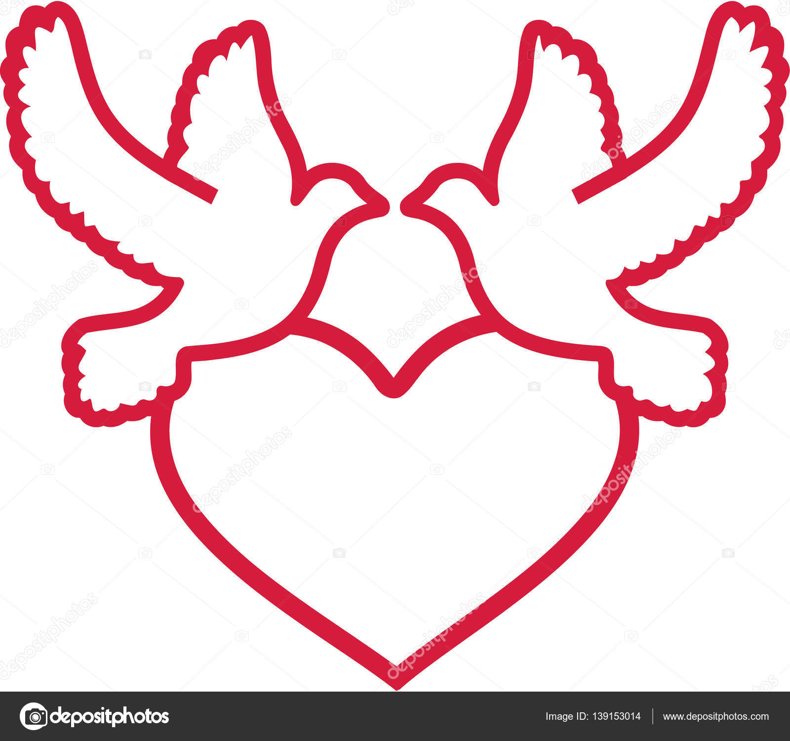 1600x1500 Two Doves With Heart Outline Stock Vector Miceking