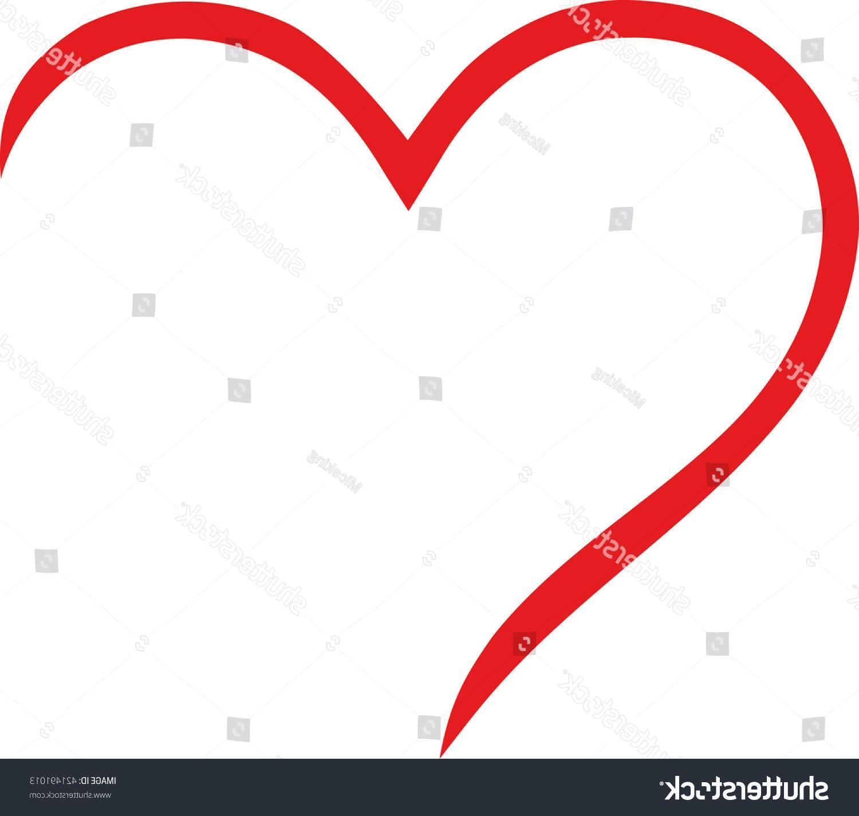 1500x1425 Unique Stock Vector Half Heart Outline Image
