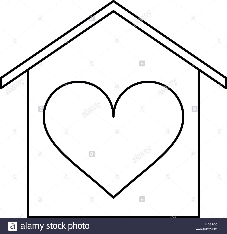 1300x1338 House Love Heart Beauitful Card Outline Stock Vector Art