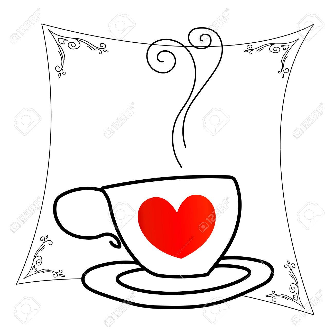 1300x1300 Coffee Cup With Red Heart Outline Drawing Royalty Free Cliparts