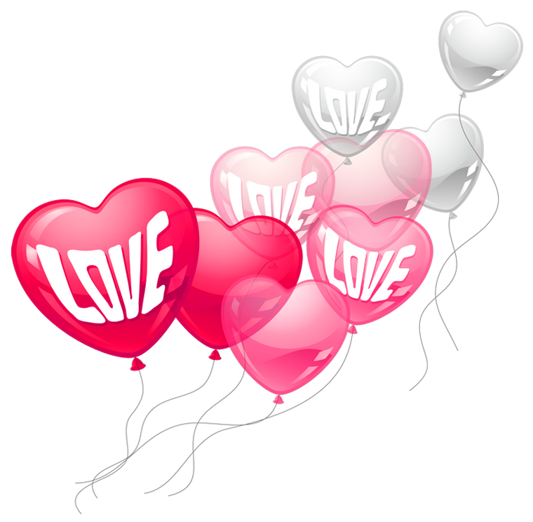 760x744 Valentines Day Pink And White Love Heart Baloons Png Clipart