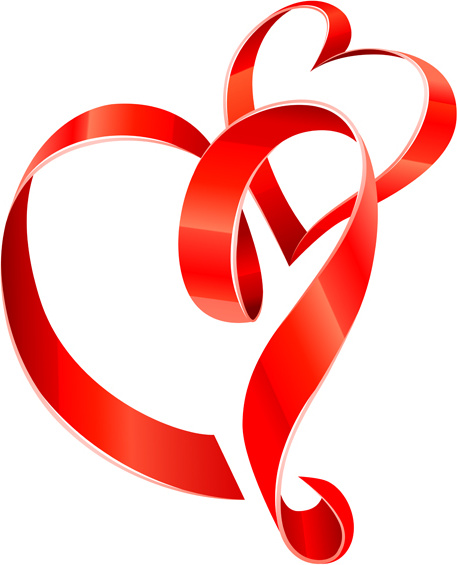457x565 Creative Heart From Red Ribbon Design Vector Free Vector