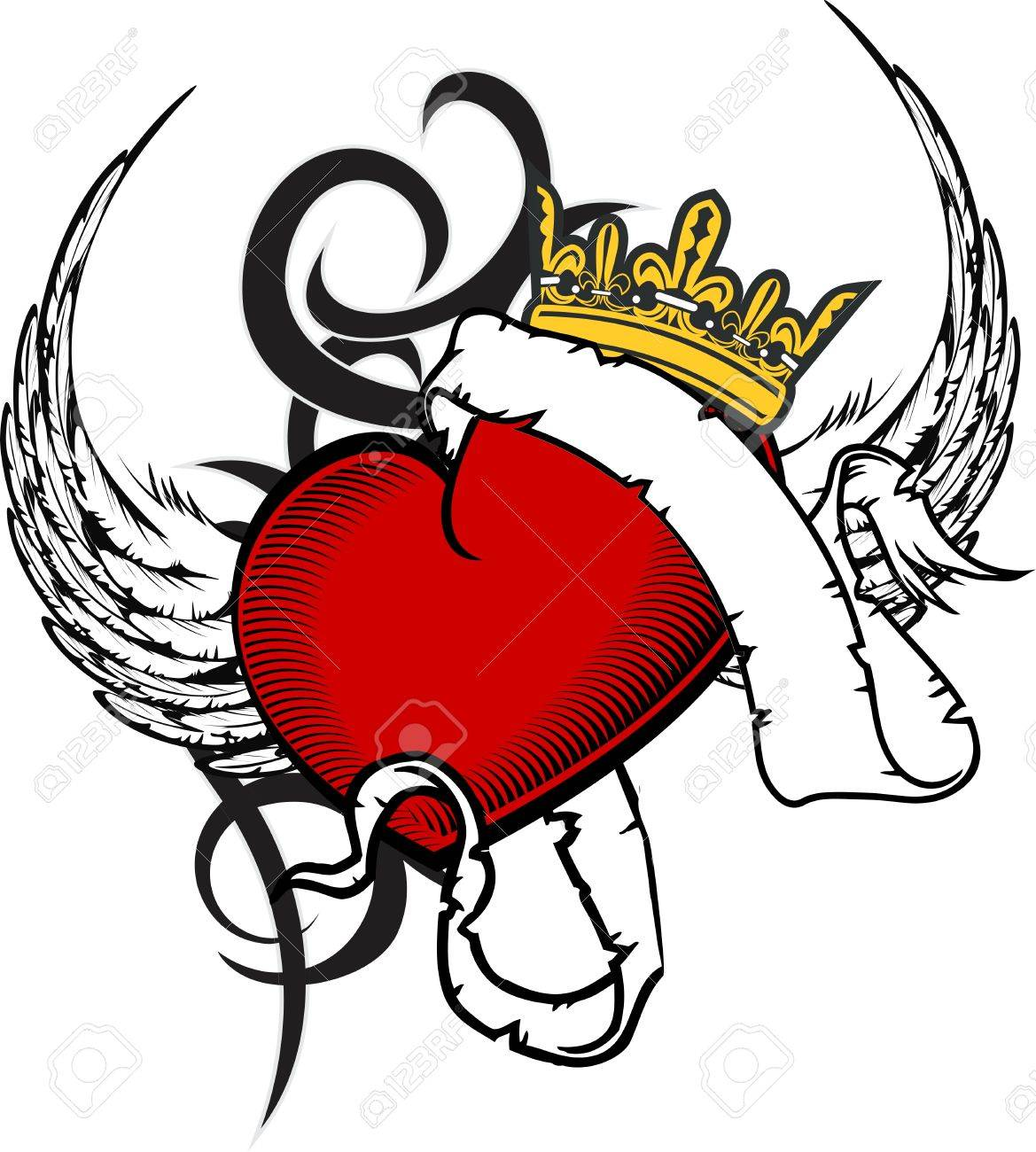 1169x1300 Heart Ribbon Tattoo In Format Very Easy To Edit Royalty Free