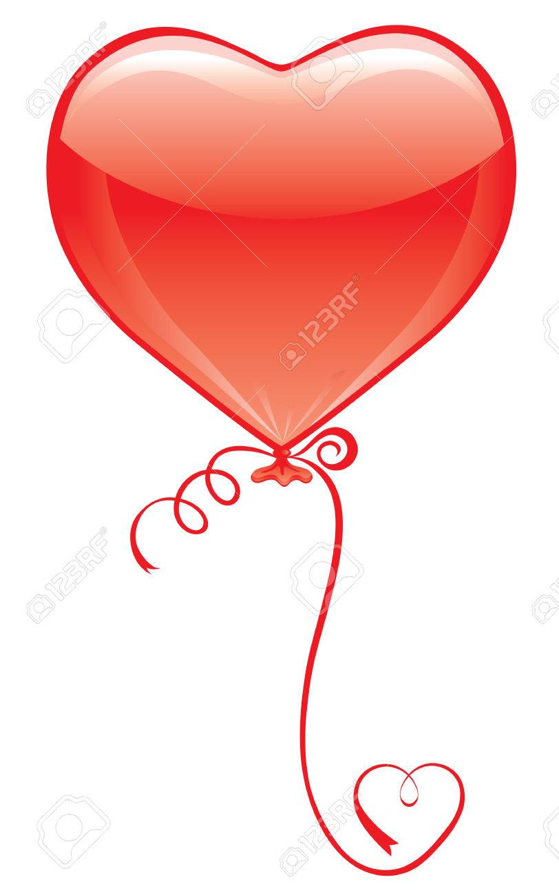 812x1300 Red Heart Balloon On White With Heart Ribbon Royalty Free Cliparts