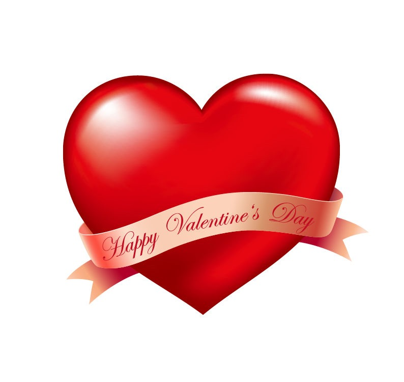 794x750 Red Heart And Ribbon Valentines Day Vector Illustration Free