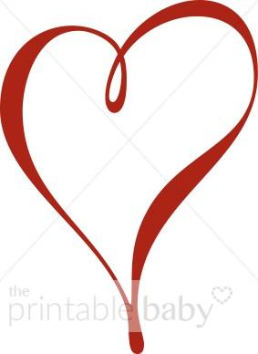 283x388 Single Red Ribbon Heart Clipart Heart Baby Clipart