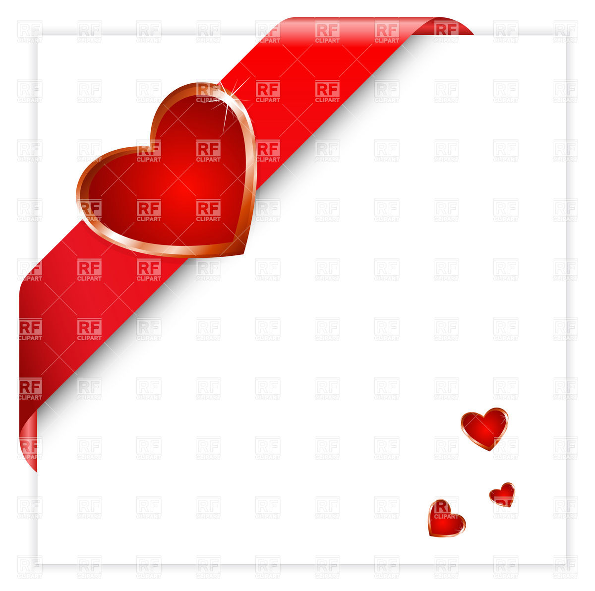 1200x1192 Valentine Red Corner Ribbon With Heart Royalty Free Vector Clip