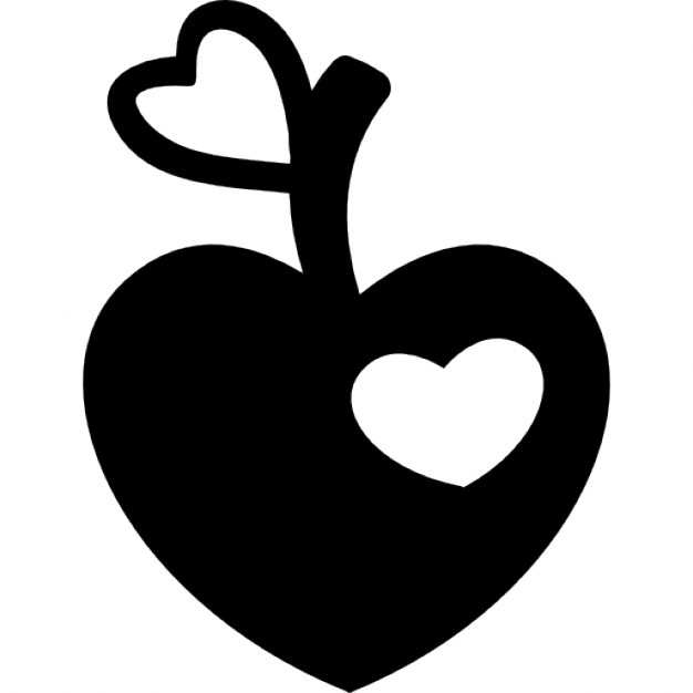 626x626 Heart Shaped Apple With Heart Bite And Heart Leaf Shape Icons