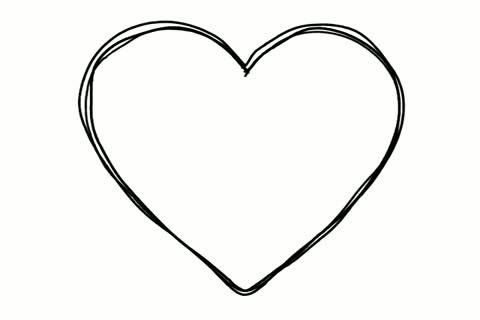 480x320 Black Heart Shape Line Art Sequence On White ~ Hi Res