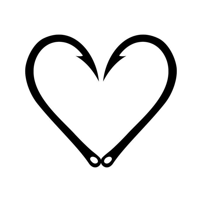 690x690 Fish Hook Heart Graphics Design Svg Dxf Eps By Vectordesign On Zibbet
