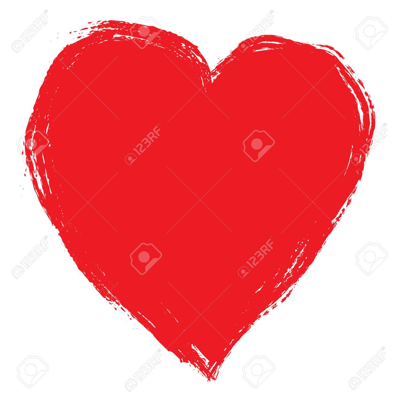 1288x1300 Hand Drawing Red Heart Isolated On White. Clip Art Royalty Free