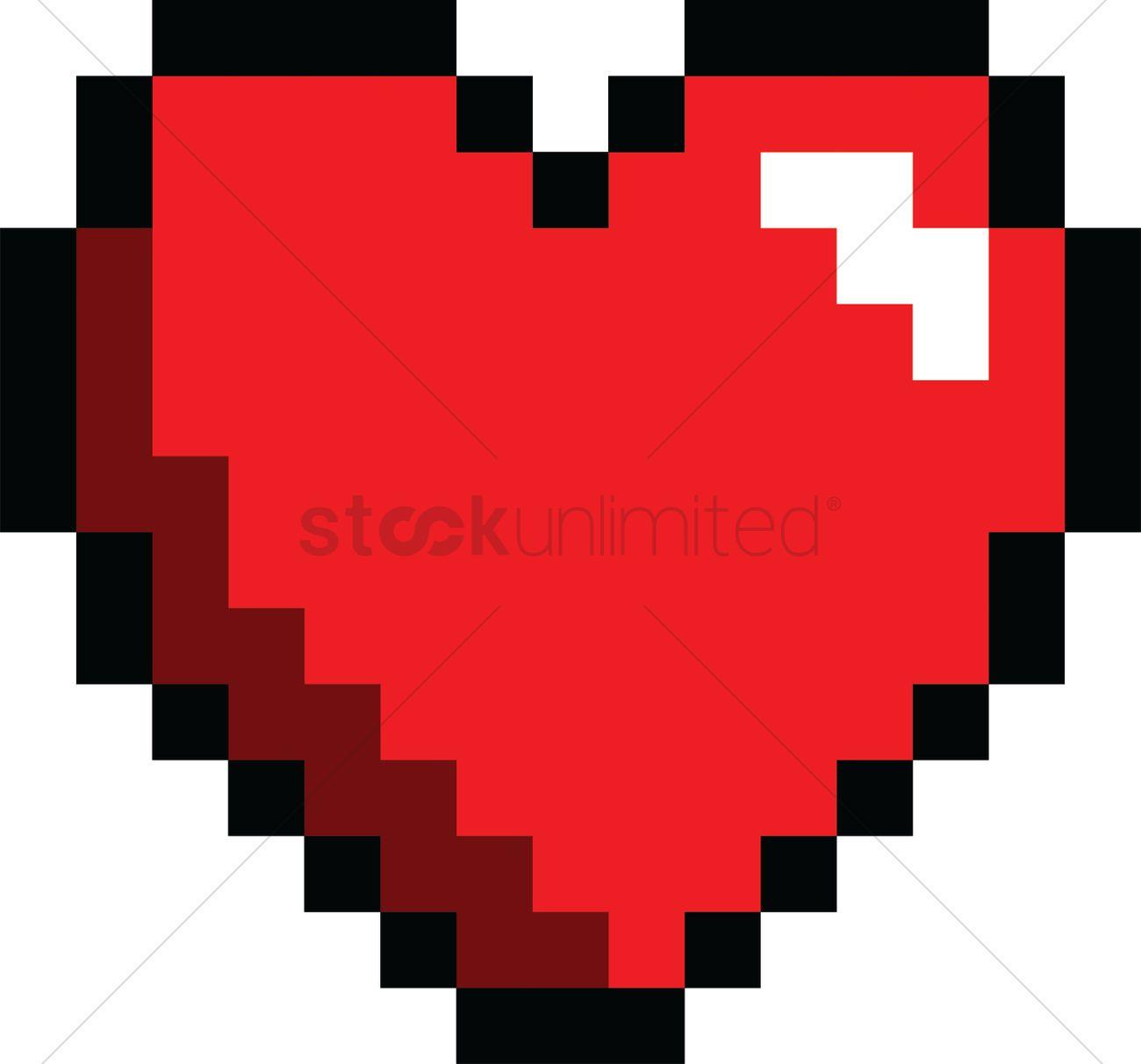 1300x1212 Pixel Art Gaming Heart Vector Image