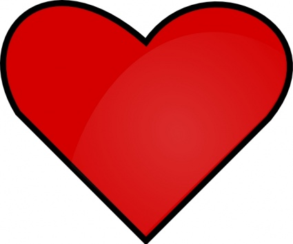 425x353 Red Heart Outline Vector
