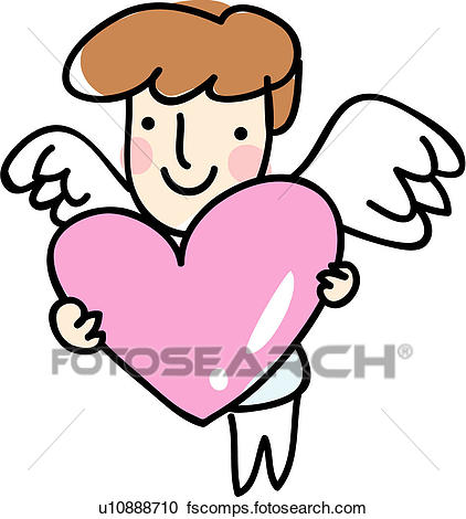 422x470 Clipart Of Holding, Heart, Wings, Love, Wing, Angel U10888710