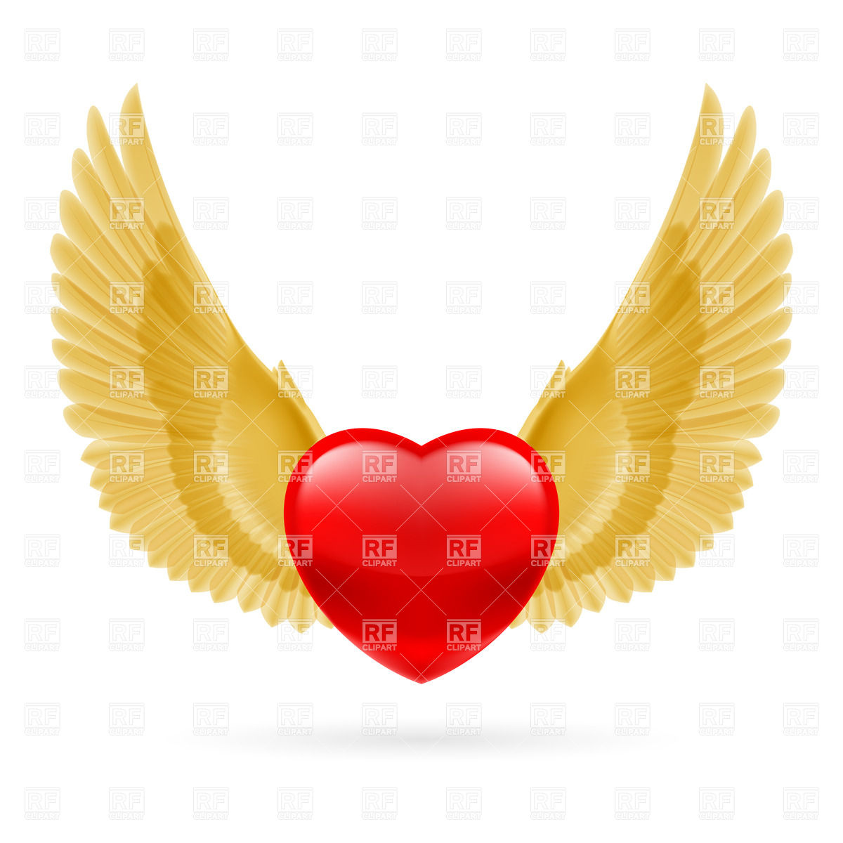 1200x1200 Red Heart With Raised Golden Wings Royalty Free Vector Clip Art
