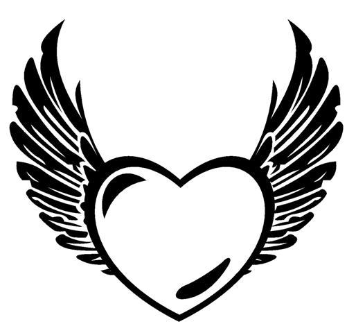514x480 Wings Clipart Black Heart