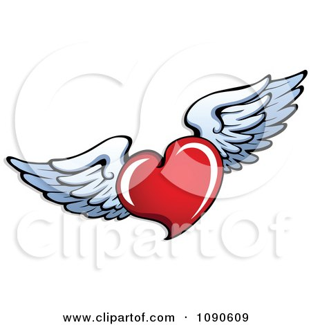 450x470 Heart And Wings Clipart