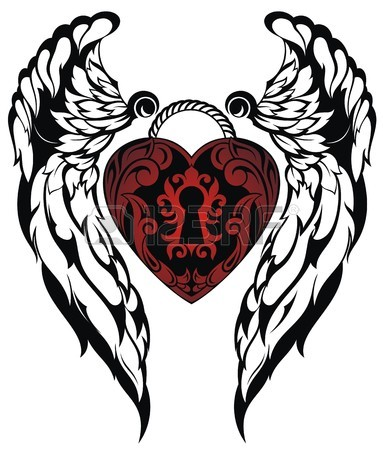 383x450 Angel Wings.love Tattoo Royalty Free Cliparts, Vectors, And Stock