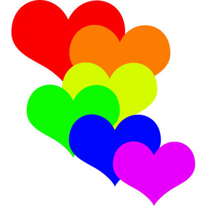 300x300 Rainbow Hearts Clipart