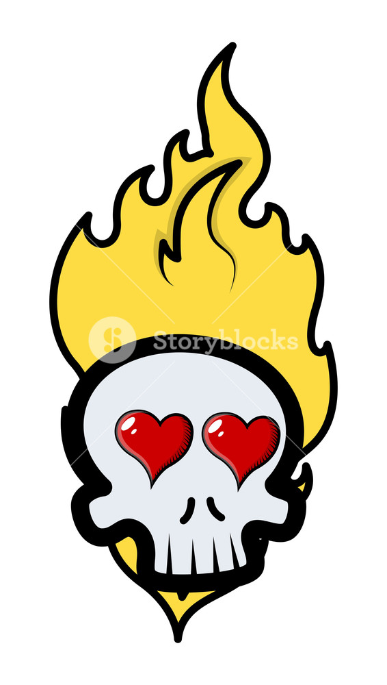566x1000 Funny Romantic Skull Tattoo With Flames And Hearts