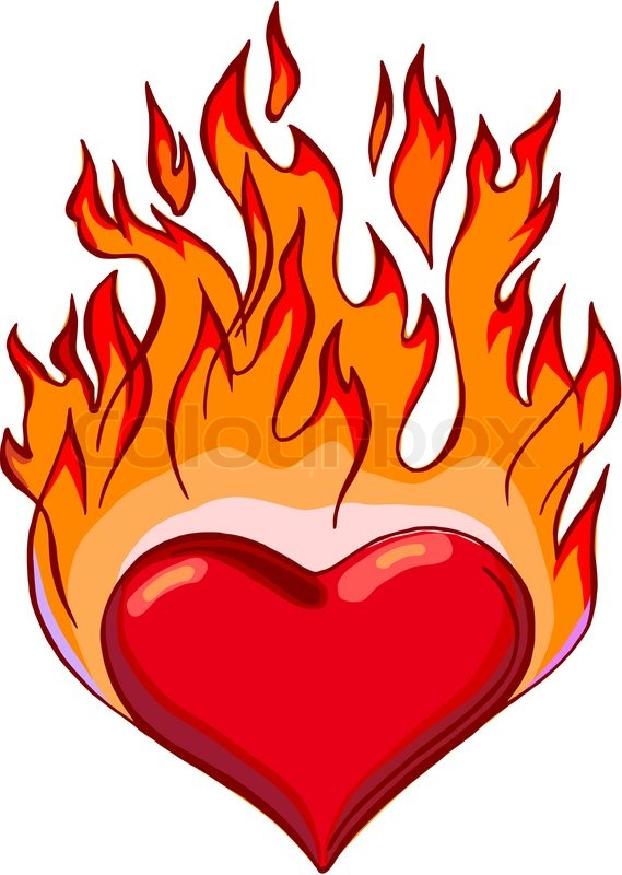 569x800 Hand Drawn, Vector, Sketch Illustration Of Flaming Hearts Stock