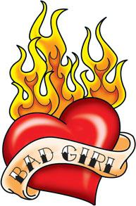 193x293 Big Red Heart With Flames Amp 034bad Girlamp 034temporary Tattoo