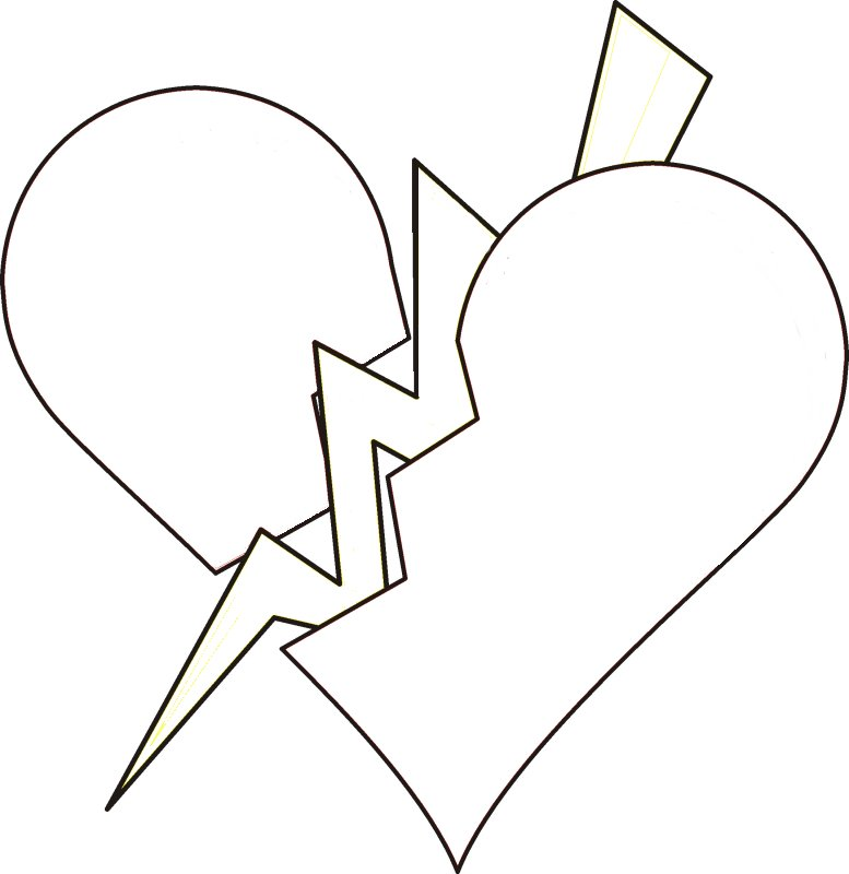 777x800 Broken Heart Coloring Pages