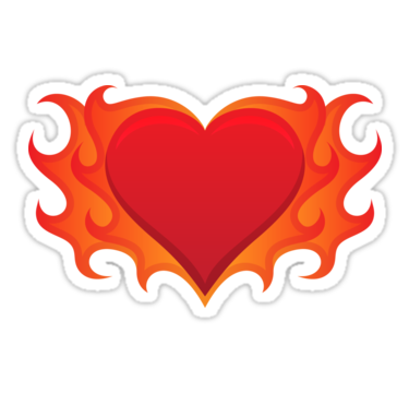 375x360 Burning Heart With Flames Red Hot Love Stickers By Mhea Redbubble