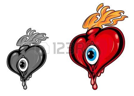 450x322 Cartoon Red And Black Hearts With Eye And Fire Flames For Love