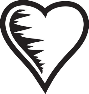 284x300 Black And White Heart Clipart