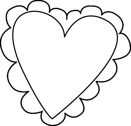 550x530 Black And White Valentine's Day Heart Clip Art
