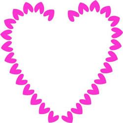 250x250 Hot Pink Hearts Border Clip Art Frame